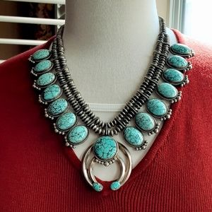 Authentic Squash Blossom Turquoise Silver Necklace
